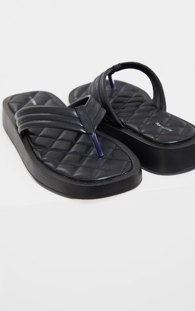 Black Chunky Sandal Quilted Toe Post Flip Flops 1