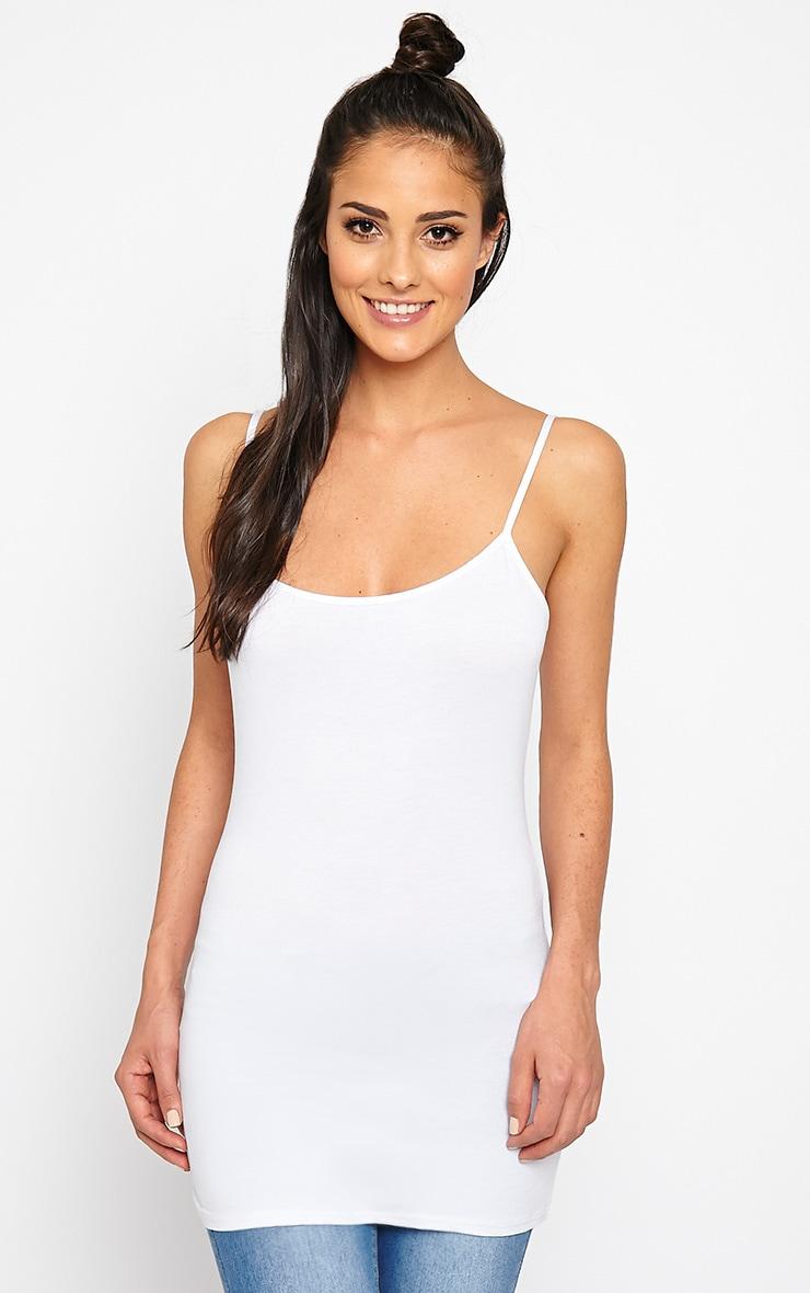 Basic White Jersey Vest Top 1