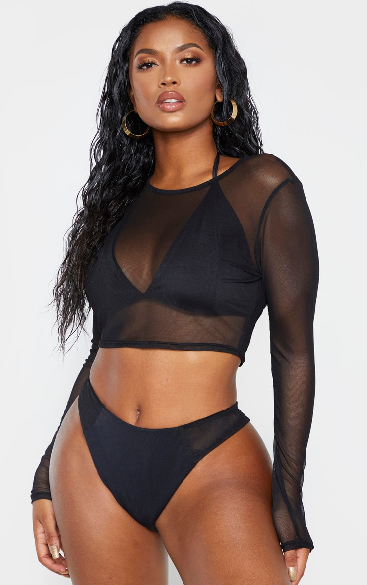 Shape Black Mesh Long Sleeve Top 1