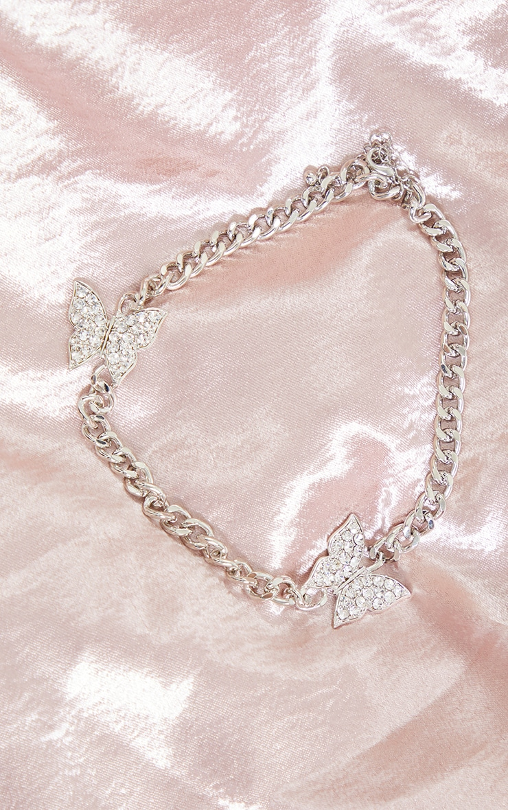 Silver Chunky Chain Double Diamante Butterfly Necklace 3