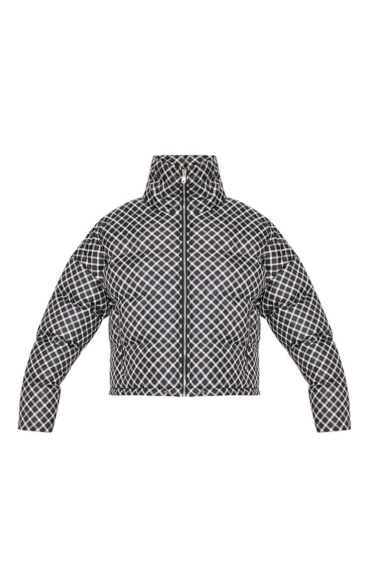 Black Checked Puffer  3