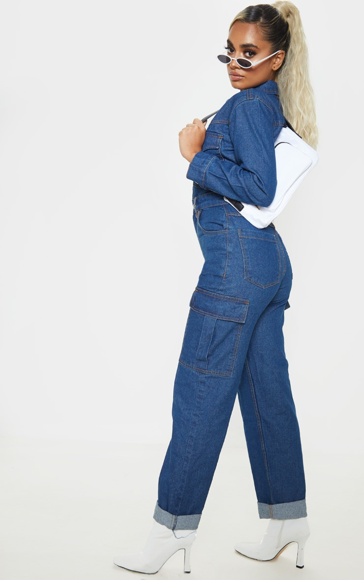 Petite Dark Wash Denim Wide Leg Jumpsuit 4