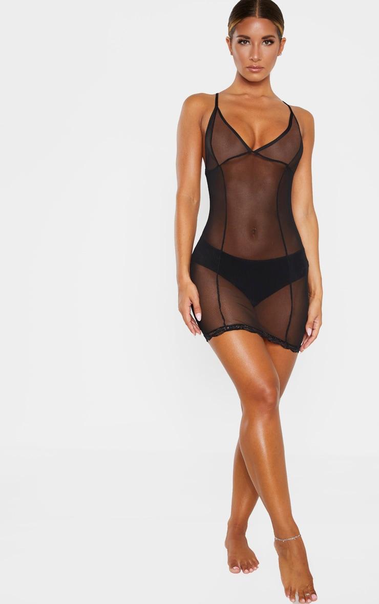 Black Lace Detail Mesh Slip Lingerie Dress 1