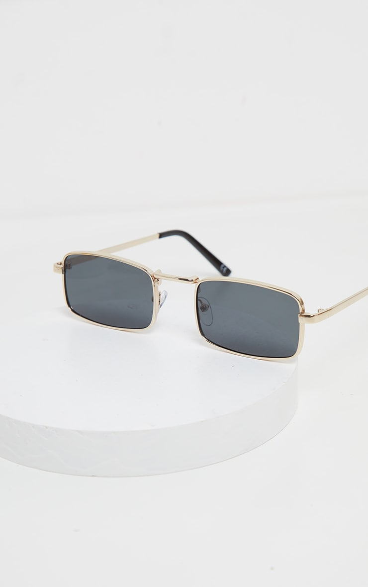 Gold Frame Black Lens Small Square Sunglasses 4