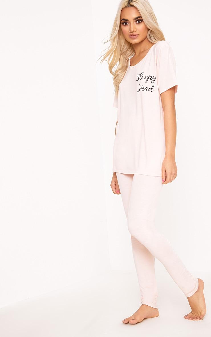 Ensemble pyjama avec slogan Sleepy Head couleur chair  4
