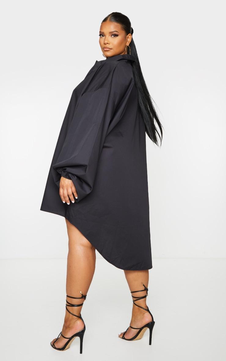 PLT Plus - Robe chemise noire à manches ballon 2