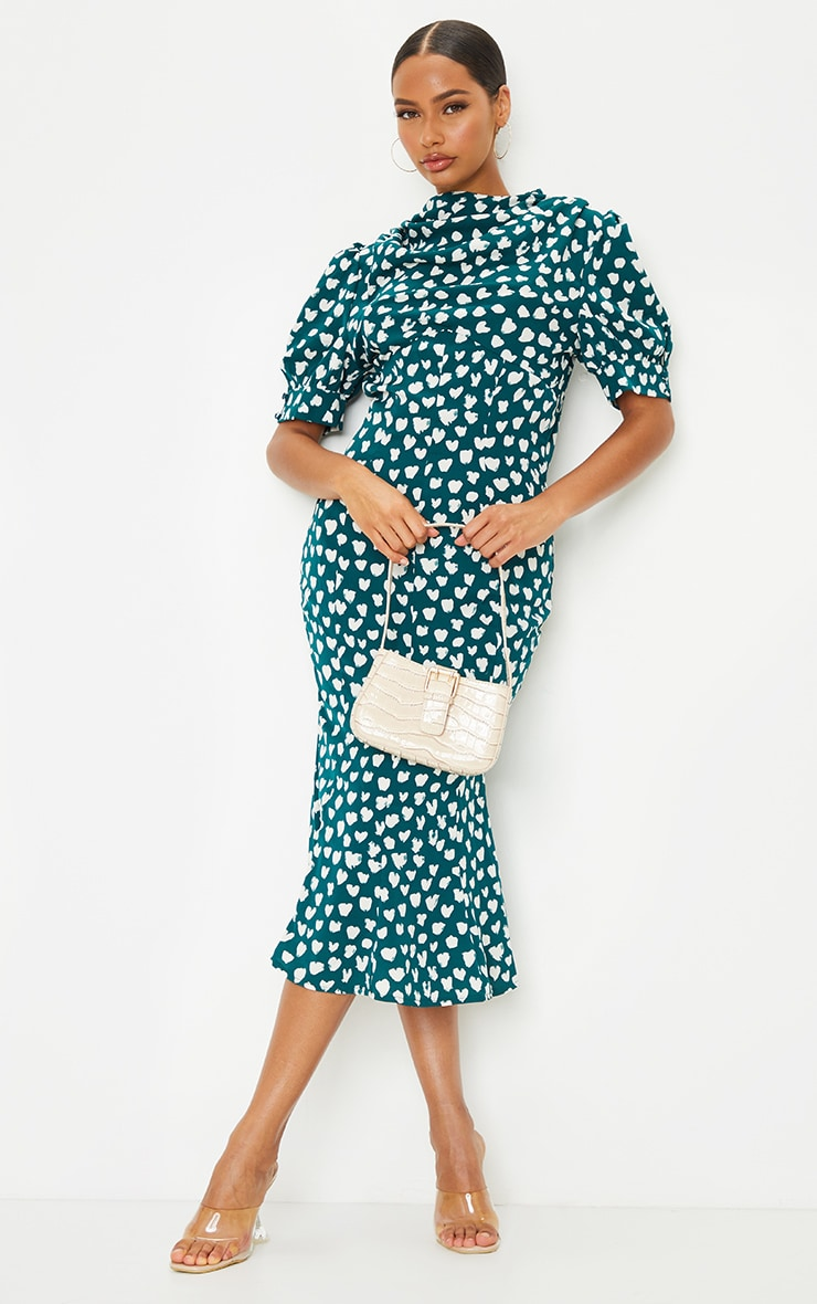 Emerald Green Dalmatian Print Puff Sleeve Cowl Neck Midi Dress 1