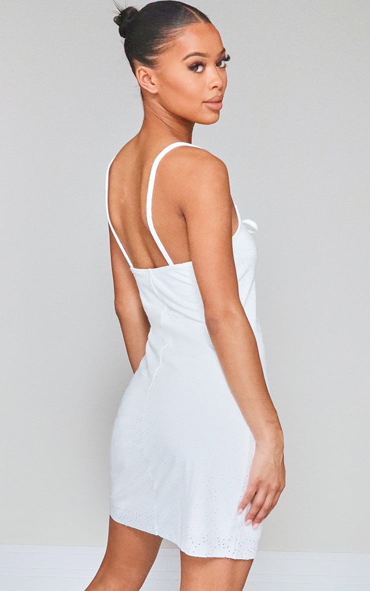 White Broderie Anglaise Tie Bust Strappy Shift Dress 2