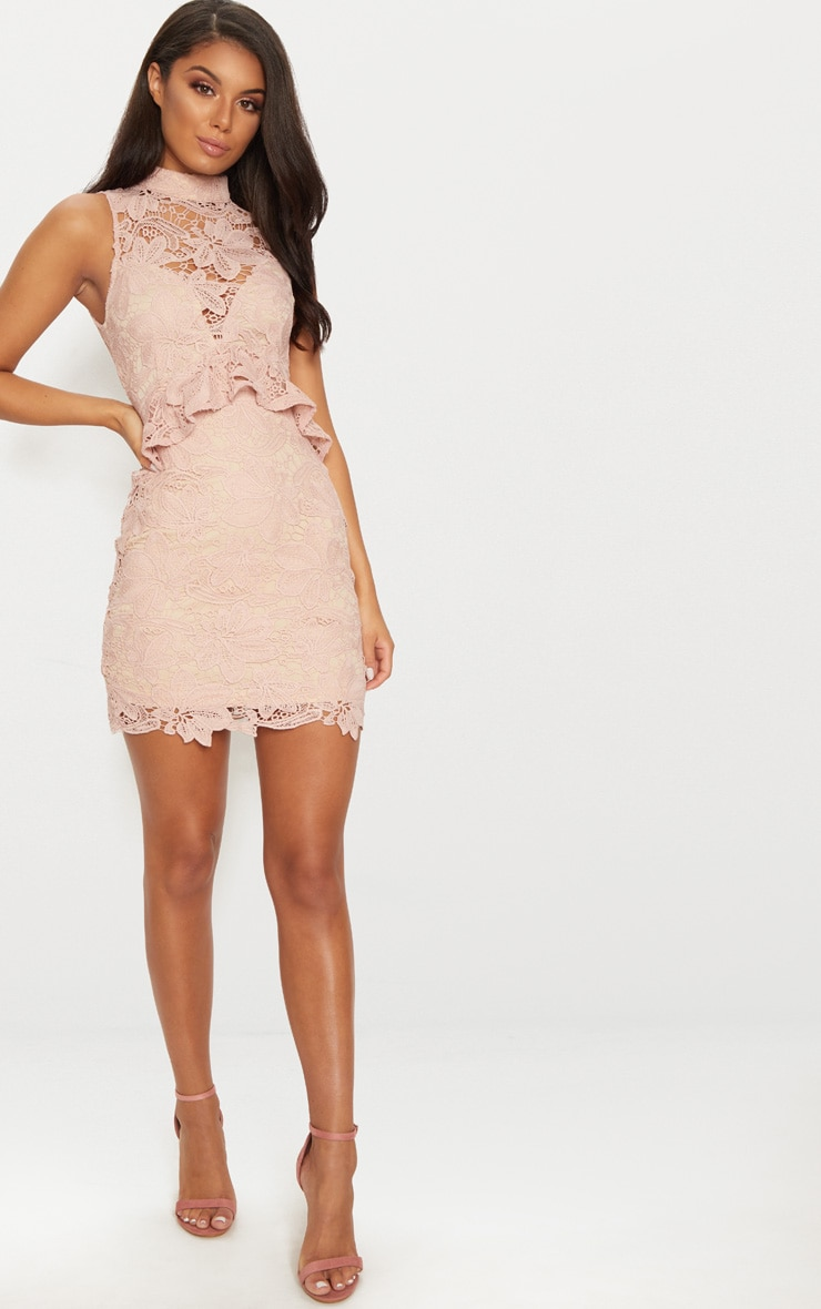 Wholesale los lace bodycon detail pink strappy dress tassel dusty are edgars