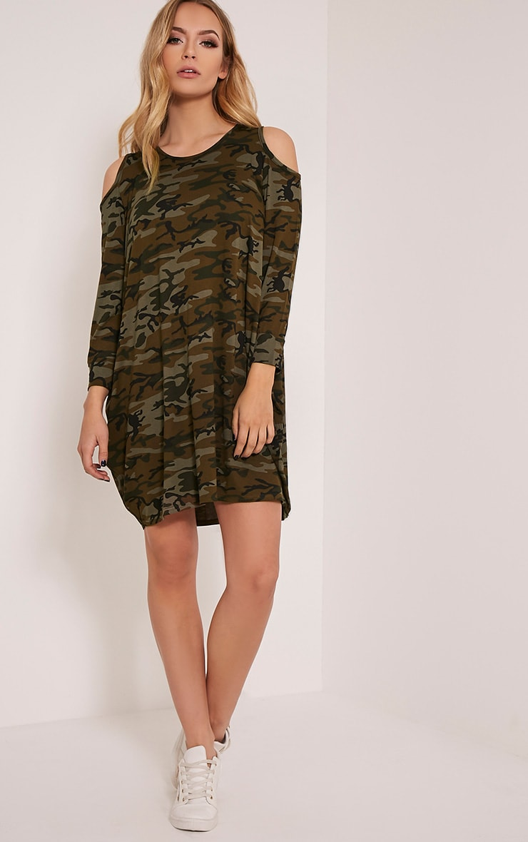 Bronwyn Khaki Camouflage Cold Shoulder Dress 5