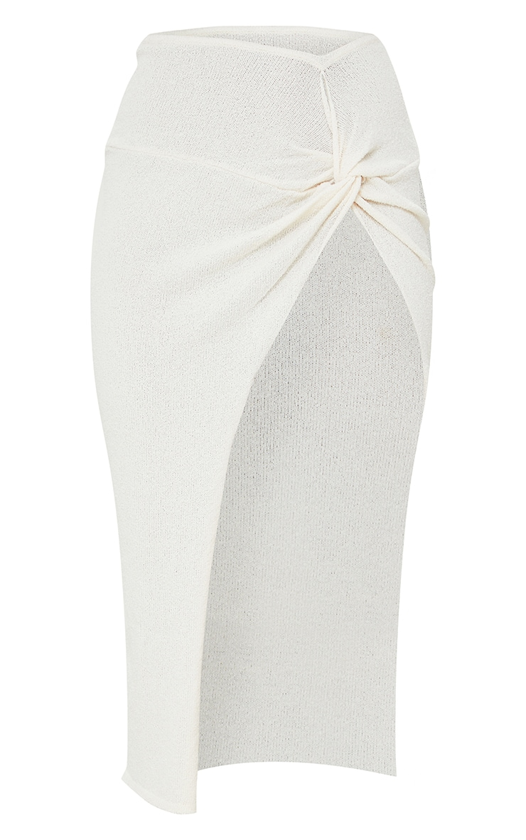 Cream Ruched Waist Side Split Towelling Knit Skirt 5