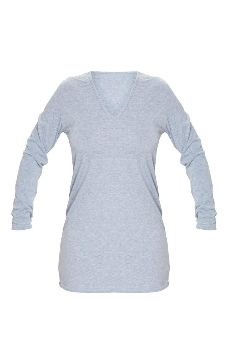 فستان بتصميم تي شيرت بياقة على شكل V وأكمام طويلة، رمادي اللون 5
