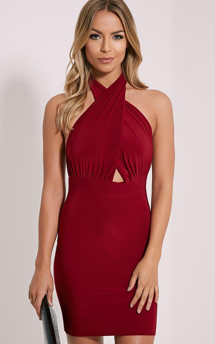Marisa Burgundy Halterneck Mini Dress 1