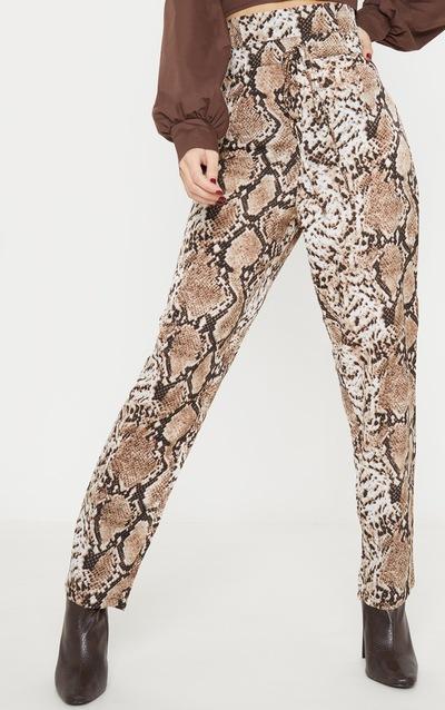 Brown Snake Print Paperbag Waist Tapered Leg Trouser