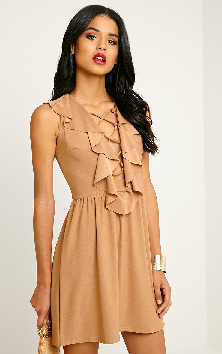 Chaya Camel Lace Up Skater Dress 1