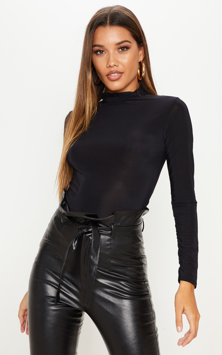 Black Long Sleeve Slinky Roll Neck Top 1