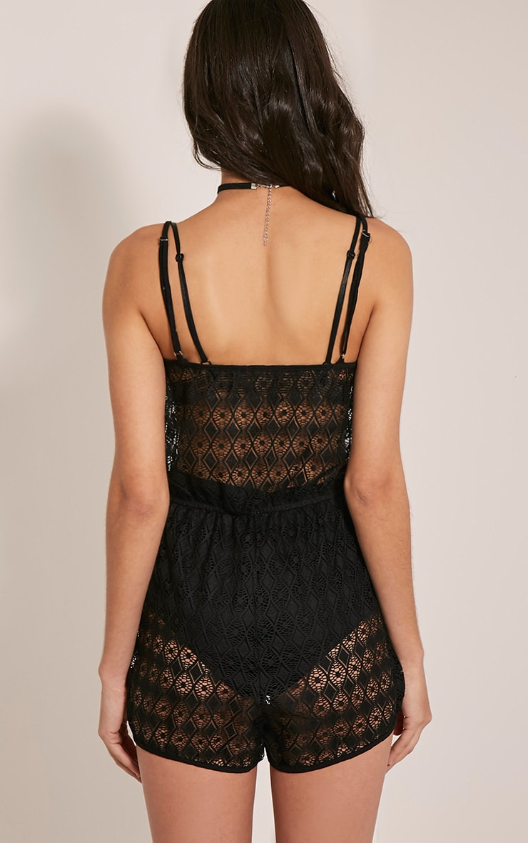 Elaina Black Sheer Lace Runner Short Playsuit 2