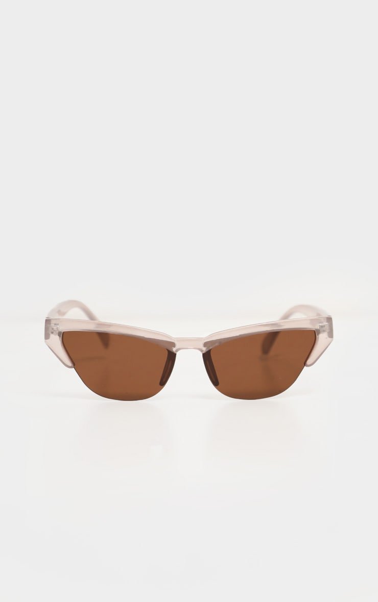 Taupe Slim Cat Eye Sunglasses 2