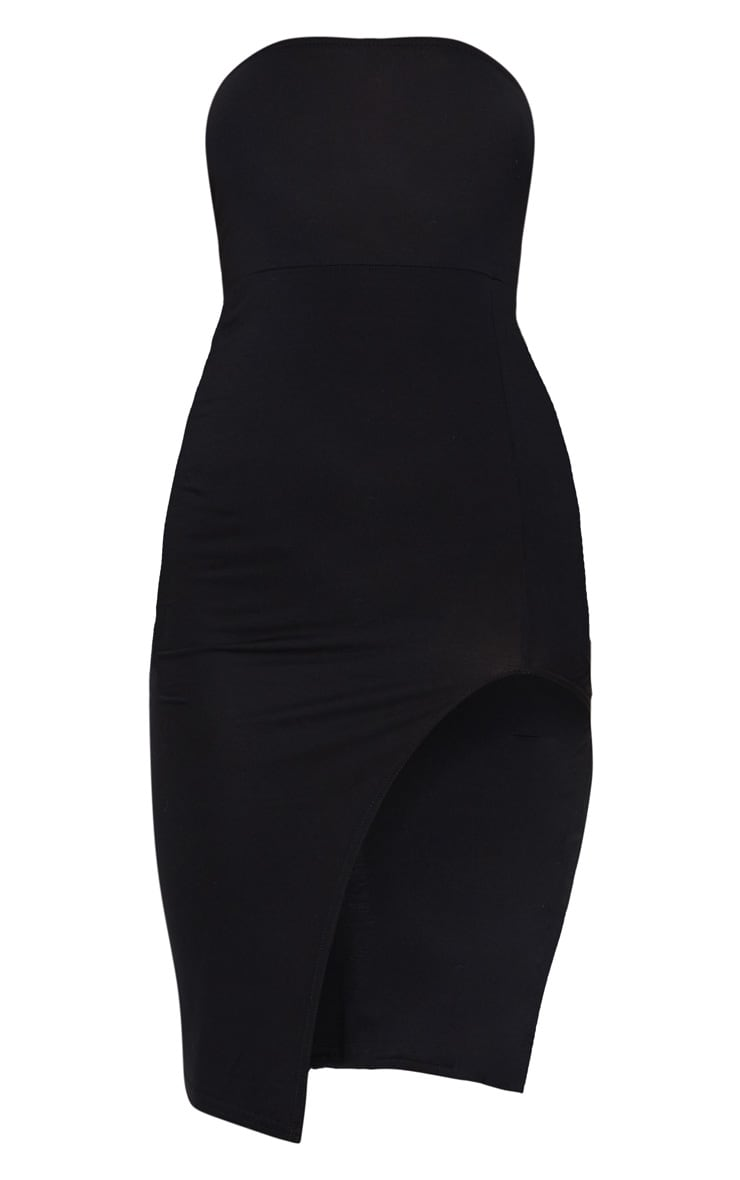 Black Bandeau Split Front Midi Dress 5