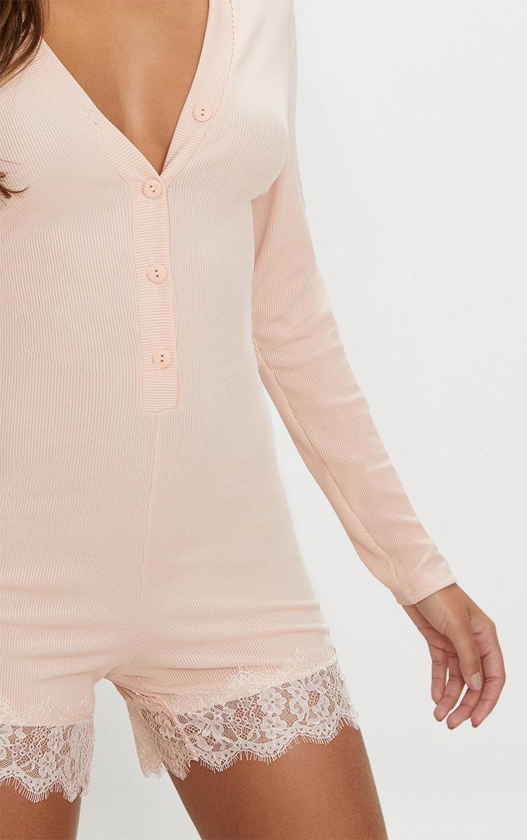 Pale Pink Ribbed Lace Trim PJ Romper 5