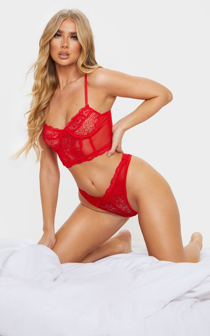 Red Lace Underwired Longline Bra 3