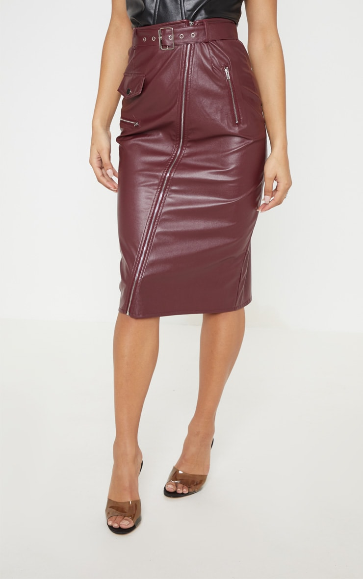 16c036fa7 Burgundy Faux Leather Biker Midi Skirt | PrettyLittleThing