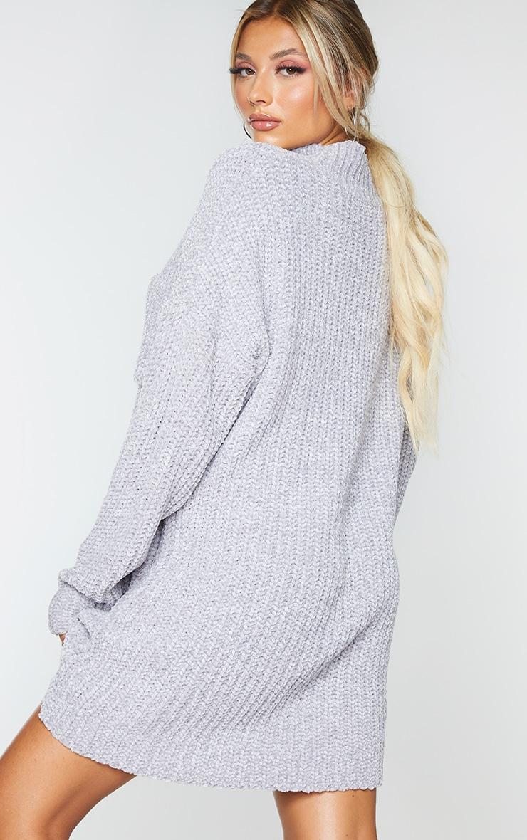 Light Grey Chenille Jumper Dress 2