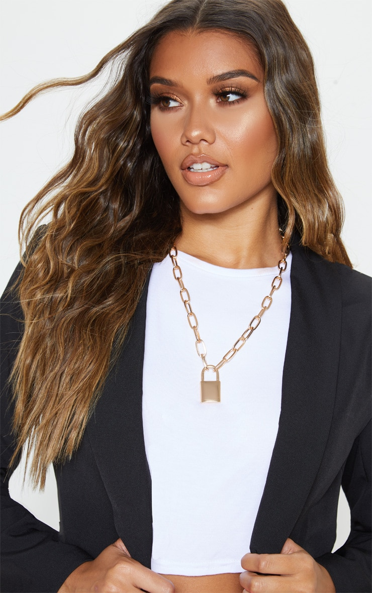 Gold Padlock Chunky Chain Necklace 1