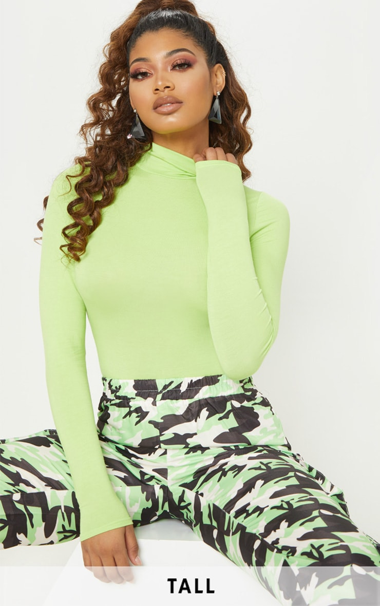 Tall Neon Lime Roll Neck Bodysuit 1
