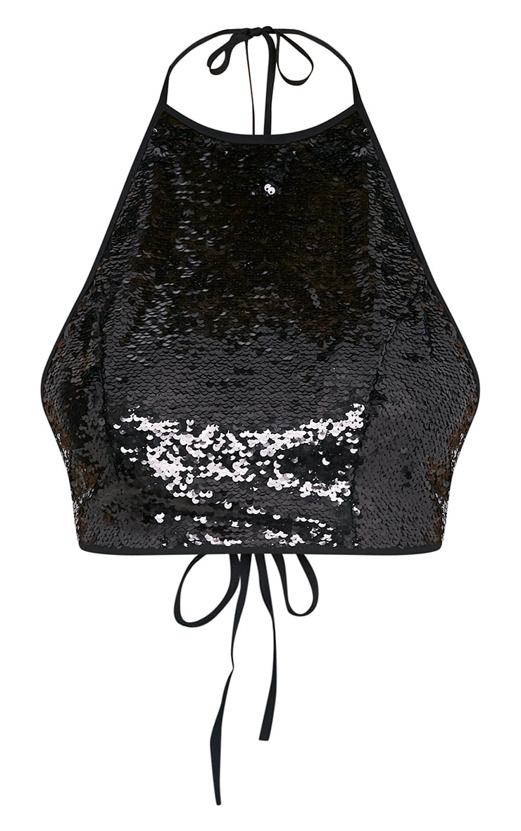 Liberty Black Sequin Halterneck Crop Top 3