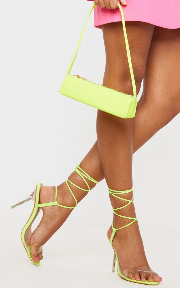 Lime Wide Fit Clear Heel Strap Ankle Tie Sandals 1