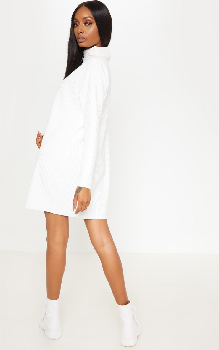 White High Neck Thick Ribbed Oversized Jumper Dress 2