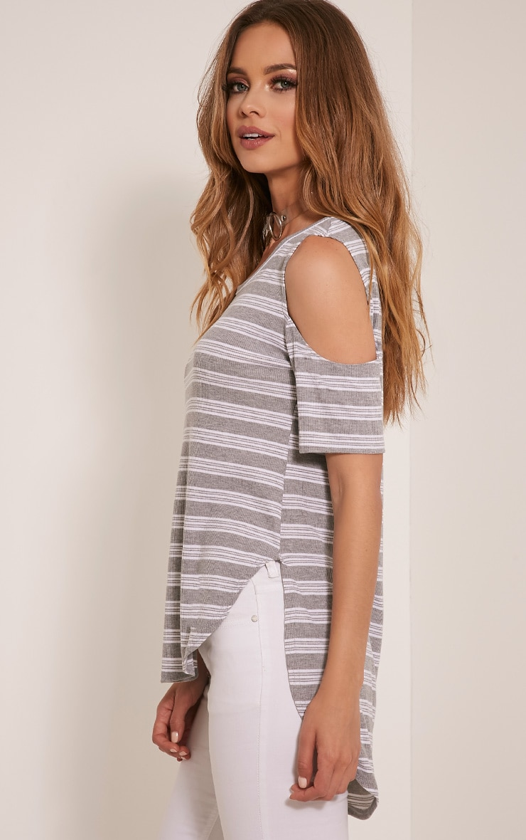Andie Grey Striped Cold Shoulder T Shirt 4