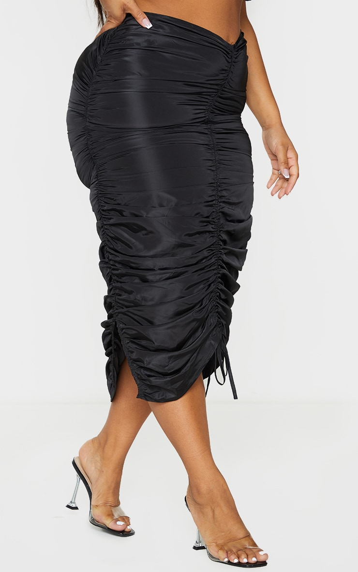Plus Black Shell Ruched Front Midi Skirt 2