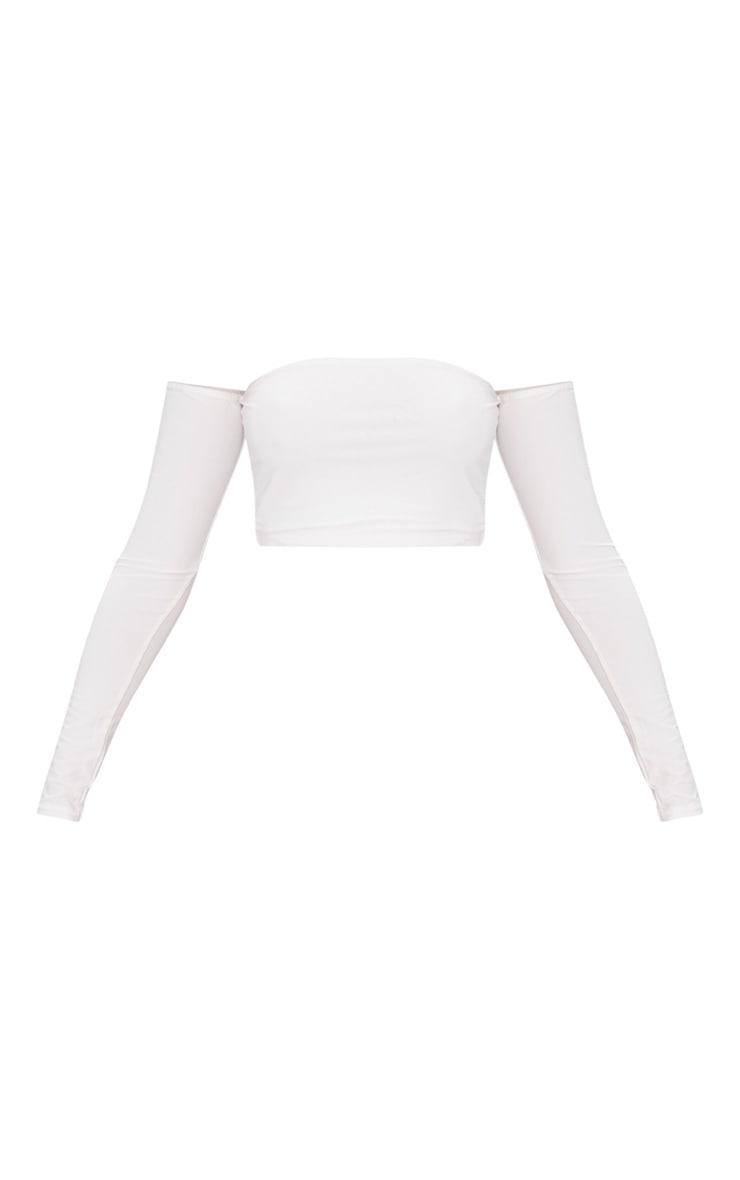 White Slinky Bardot Long Sleeve Crop Top 3