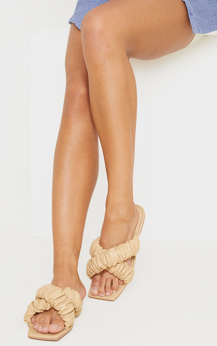Sand Square Toe Ruched Cross Over Mule Sandals 2