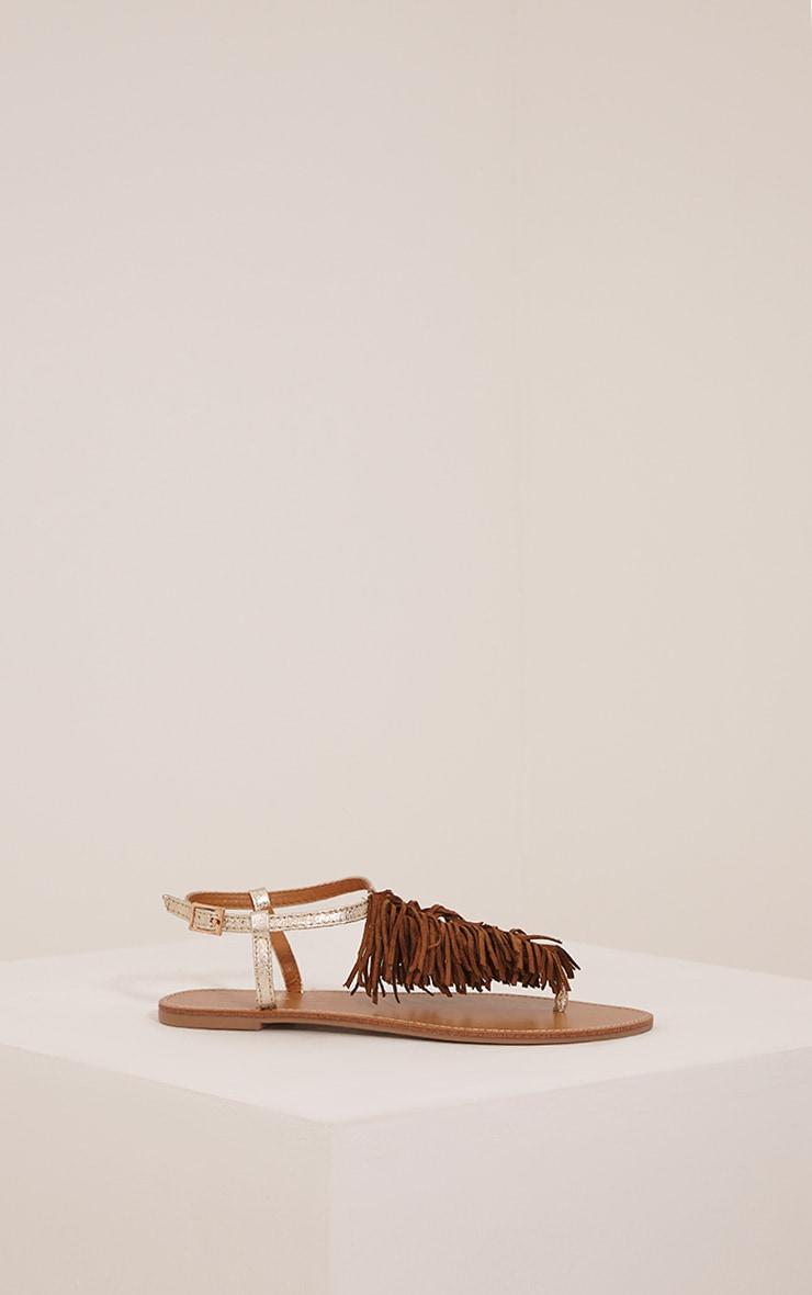 Meghanne Gold Fringe Sandals 2