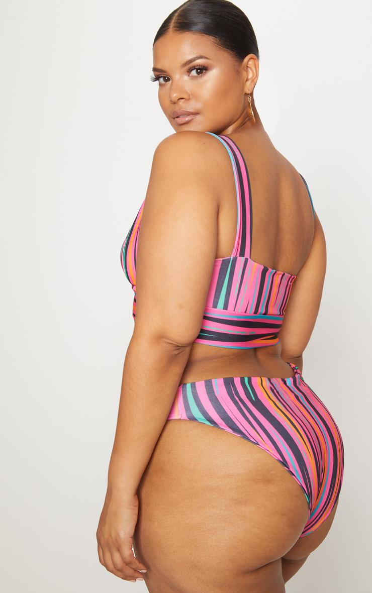 Plus Pink Printed High Rise Bikini Set 2
