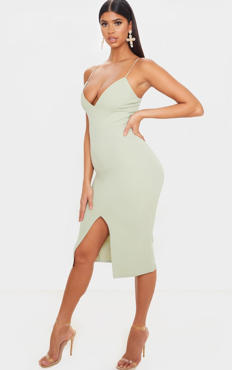 Sage Green Strappy Plunge Midi Dress 4
