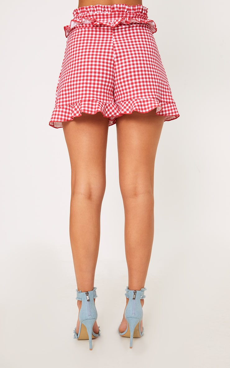 Red Gingham Frill Detail Shorts 2