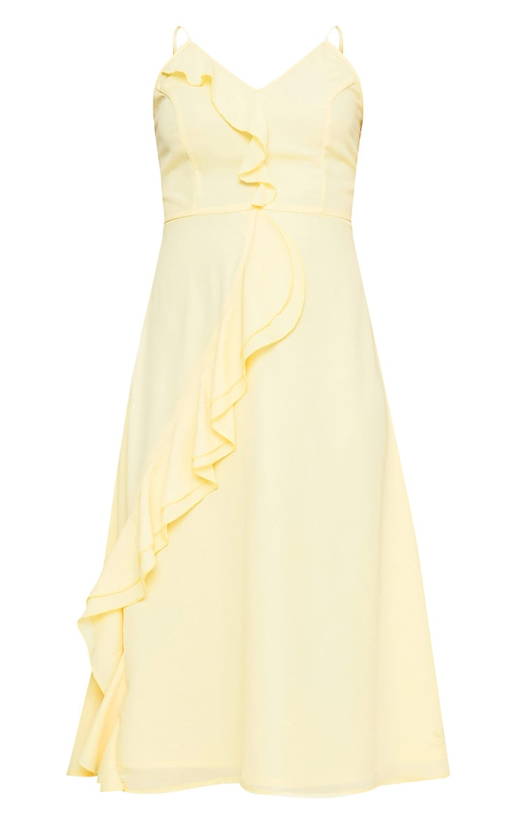 Dallia Lemon Ruffle Detail Midi Dress 3