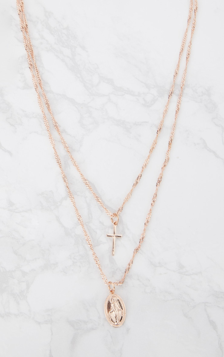 Rose Gold Renaissance Double Layer Cross and Pendant Necklace 3