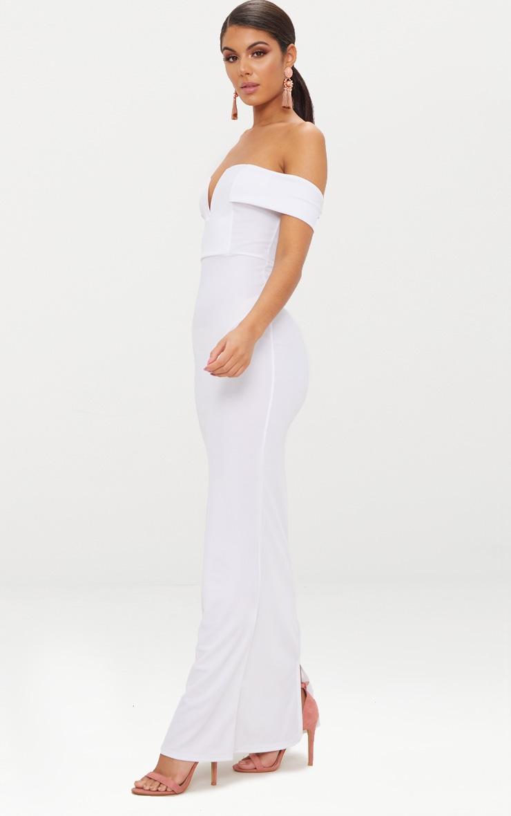White Bardot V Plunge Maxi Dress 4
