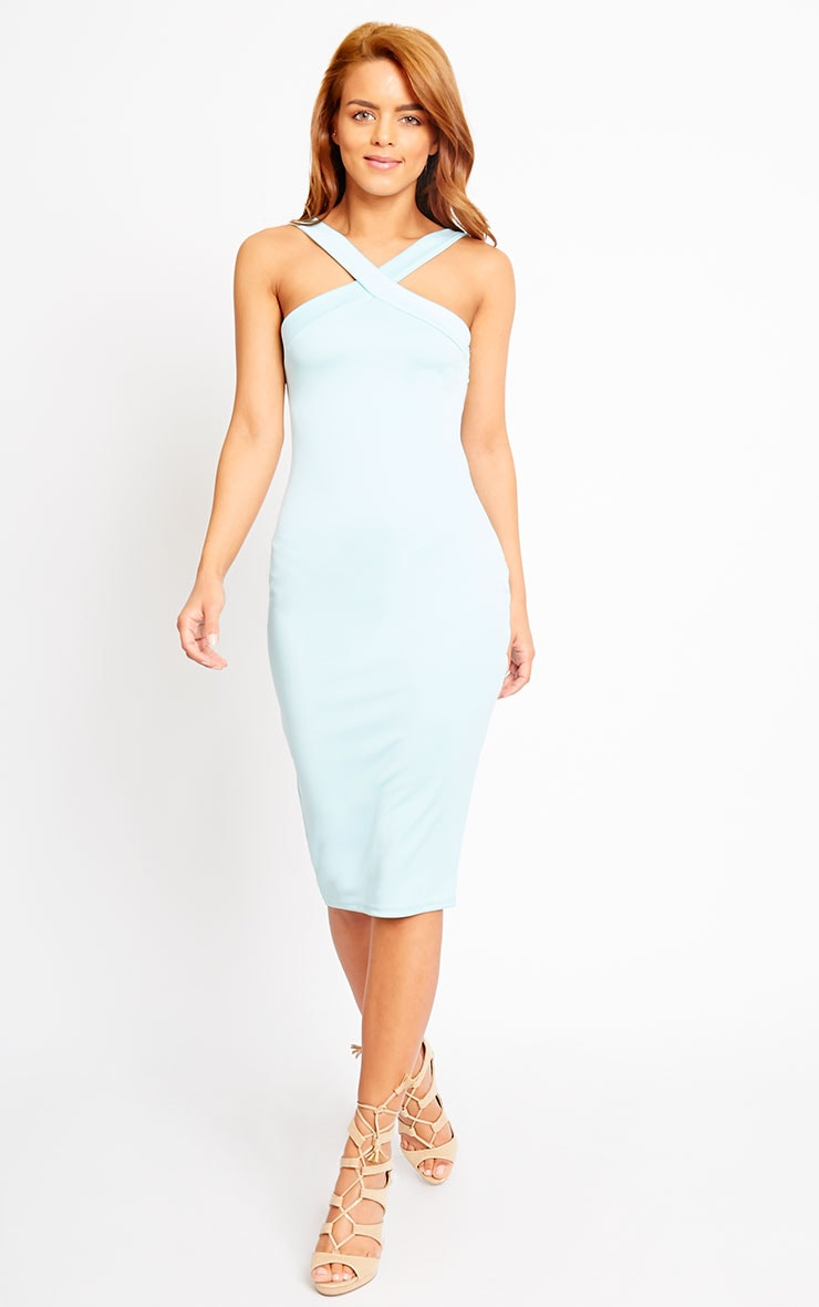 Melanie Powder Blue Cross Front Midi Dress 1