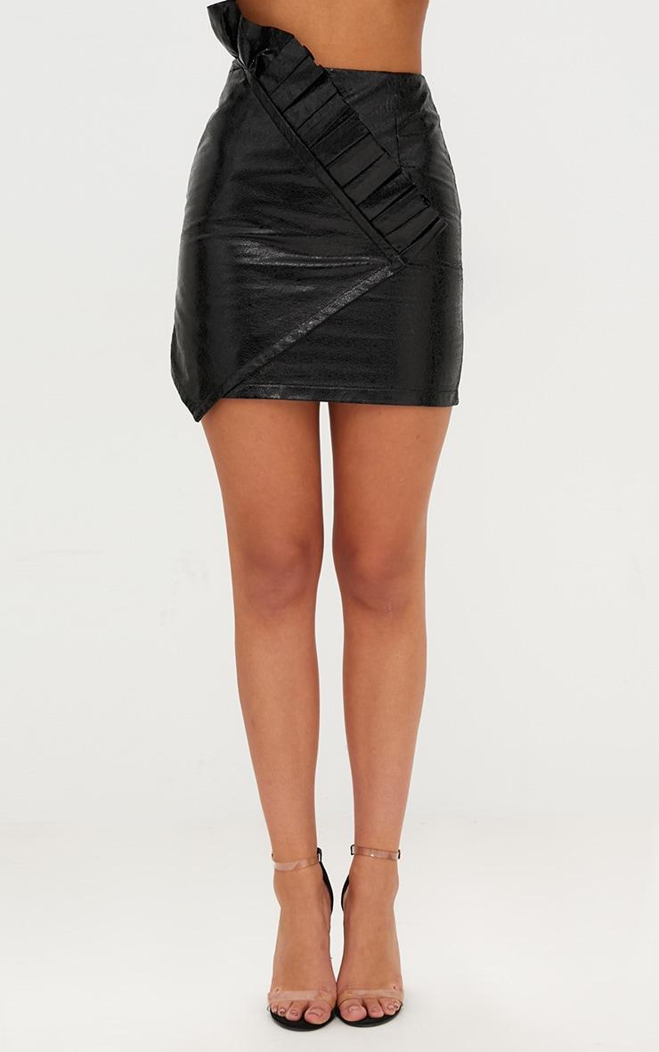 Black Crack Vinyl Frill Panel Mini Skirt 2