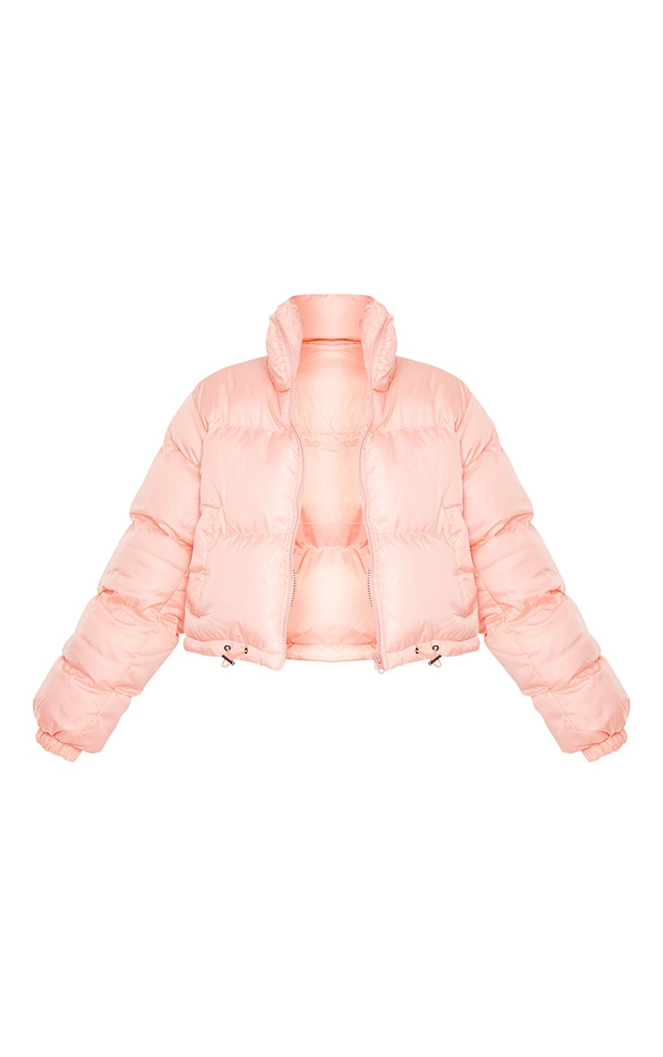 Peach Nylon Toggle Hem Puffer Jacket 5