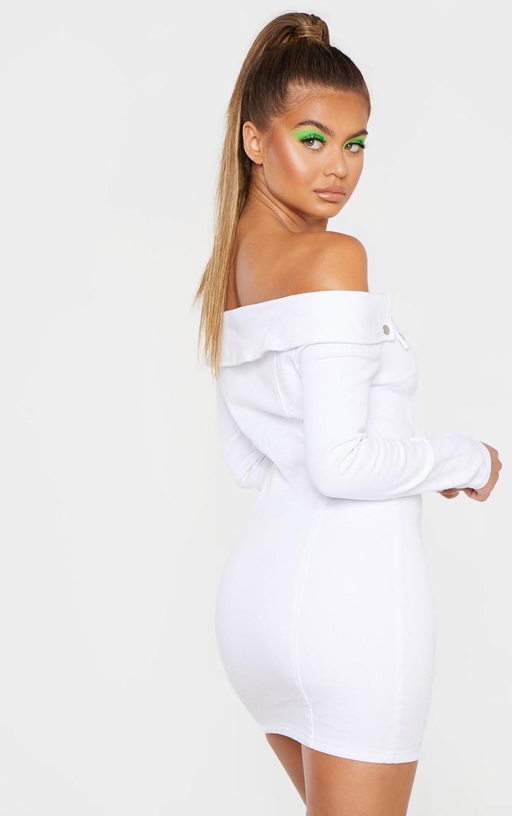 White Zip Front Off The Shoulder Denim Dress  2