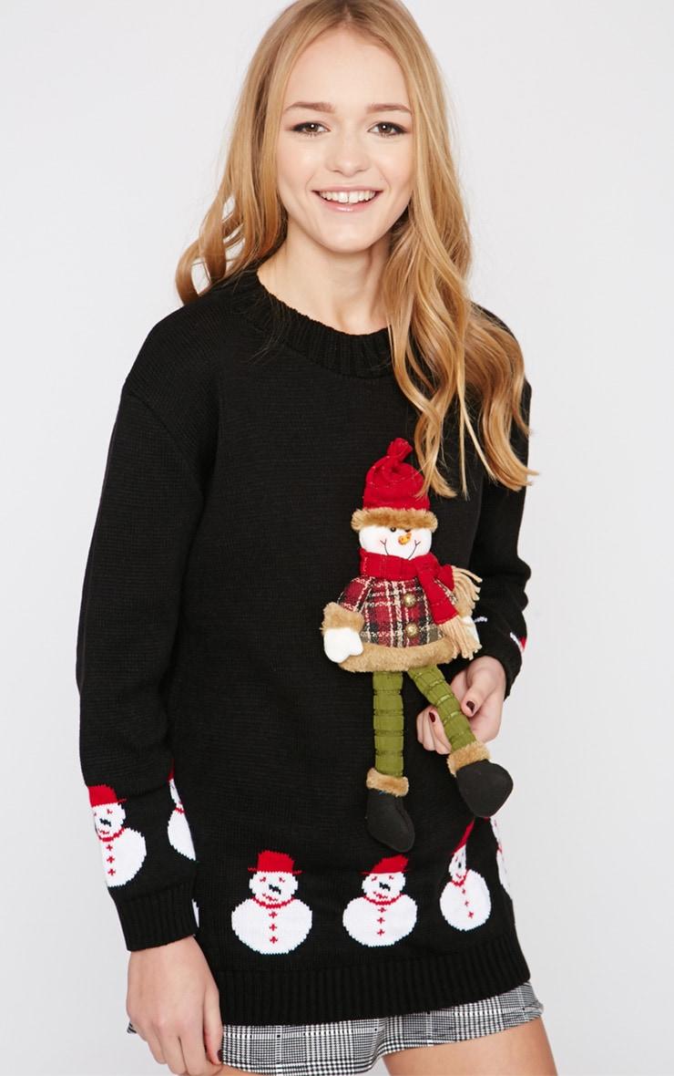 Kara Black 3D Snowman Toy Christmas Jumper  3