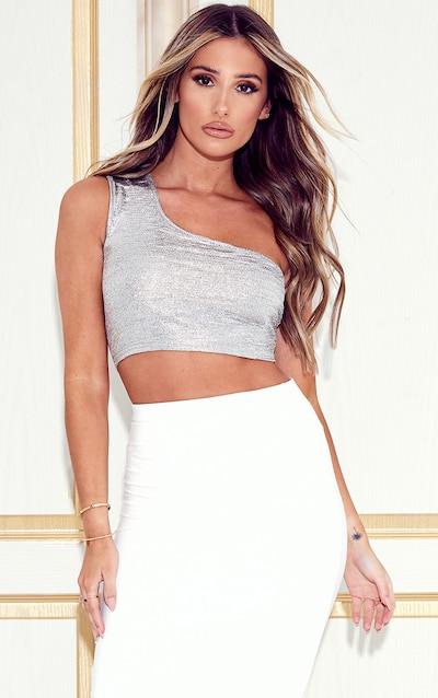 Silver Glitter One Shoulder Crop Top