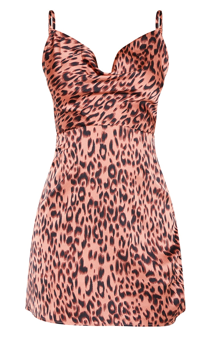 Pink Leopard Print Satin Cowl Ruched Split Bodycon Dress 3